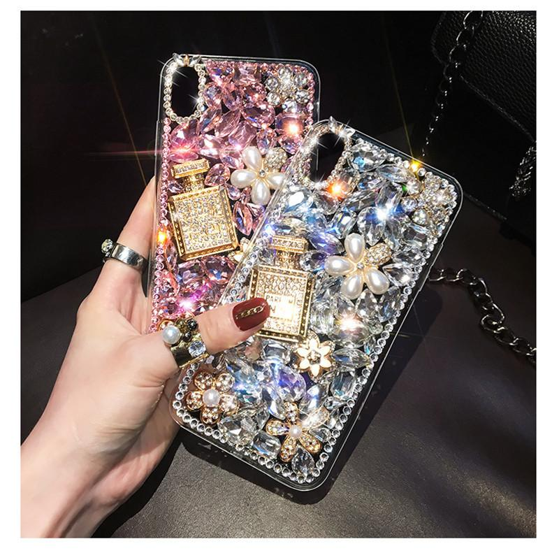 럭셔리 블링 다이아몬드 크리스탈 향수 병 DIY 핸드백 케이스 아이폰 6 7 8plus X XR XS 최대 11 (11) 프로 맥스