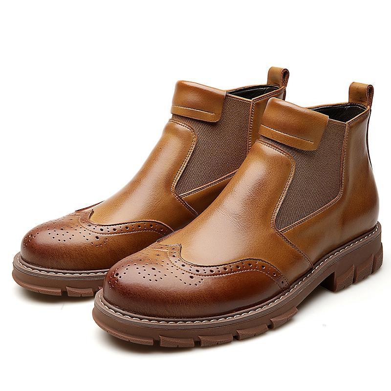جديد رجل حذاء الكاحل أحذية شتاء جلد طبيعي الانزلاق على رجل الصحراء أحذية القطيفة الفراء الدافئة أحذية للرجال مارتينز