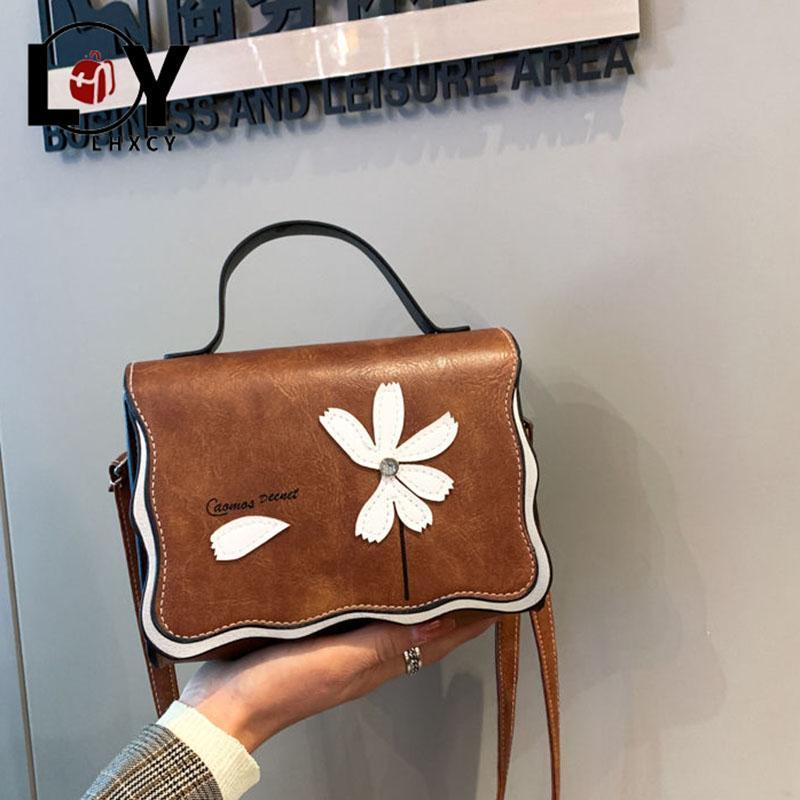 Floral garra ondulado Bordas bolsas e bolsas Retro Couro PU Clutch Bandoleira Sacos para mulheres Moda de compras sacos de ombro