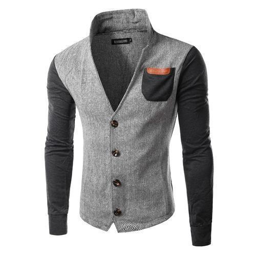 New Arrival Men Patchwork Design Os homens Hoodies gola roupas de alta qualidade Hoodies Slim Fit
