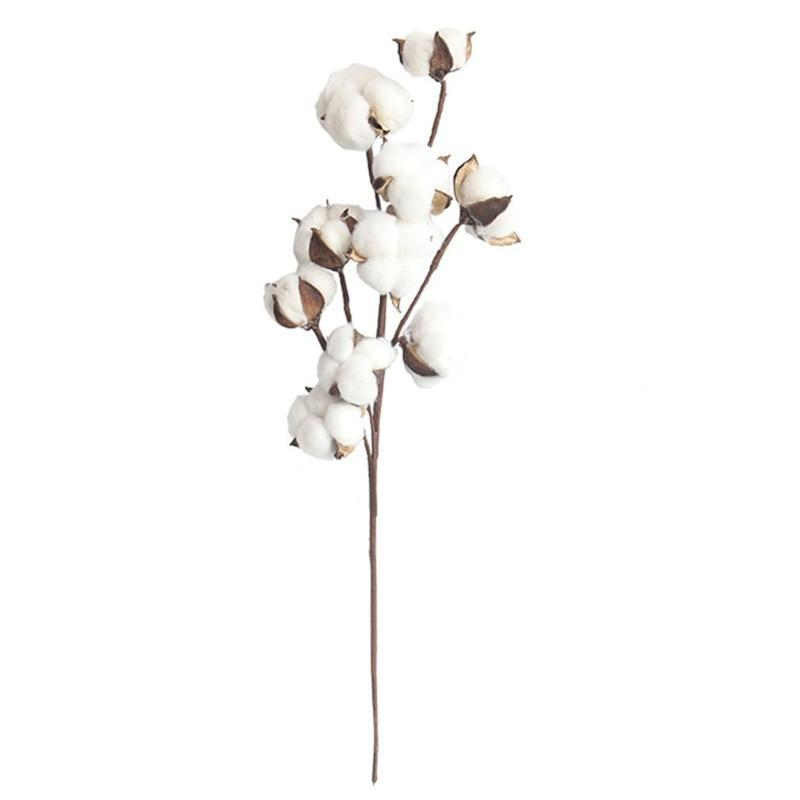 Simulation Flower 10 Natural Cotton Branches Manufacturers Home Decoration Wedding Bouquets Plant Flower Wall Fake Flowers