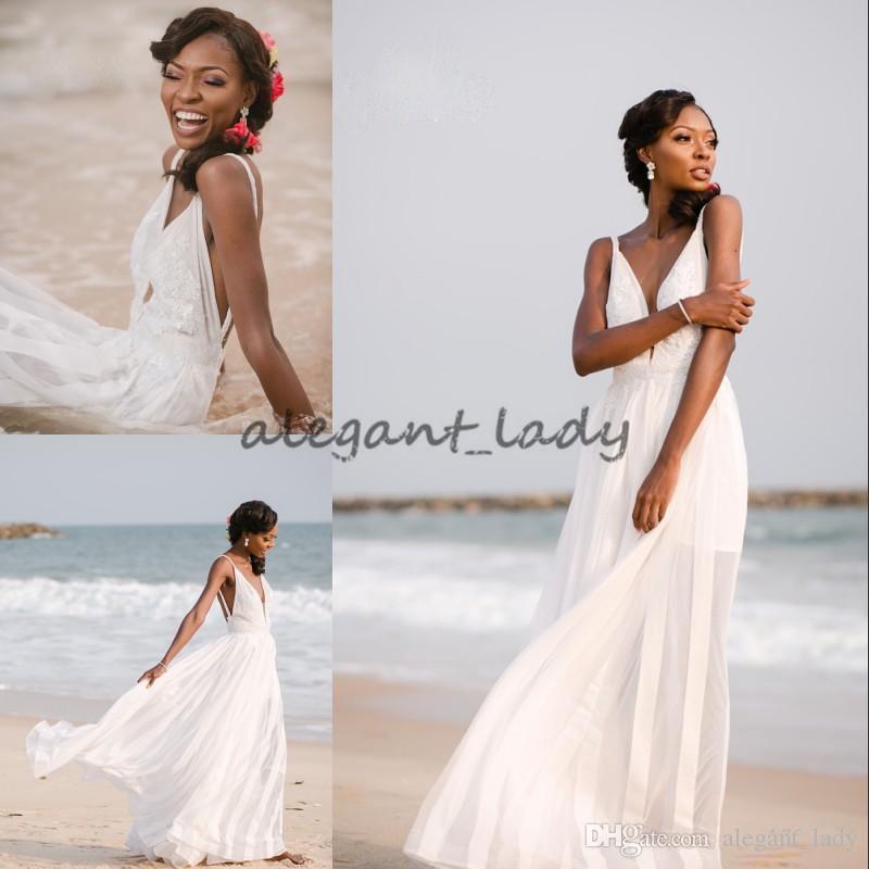 Sexy diosa griega del boda de playa vestido blanco apliques vestido de novia sin espalda de la cremallera larga de la gasa de la nueva llegada de moda los vestidos de boda