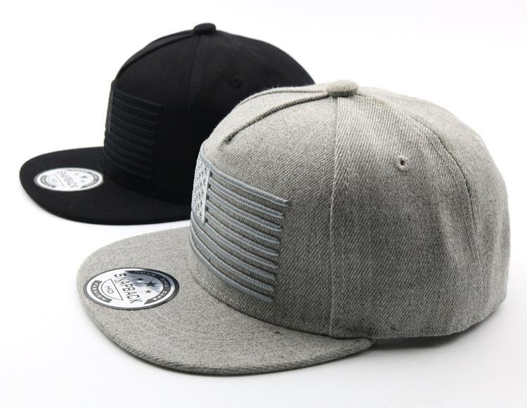 2019 USA Flag in bianco del cotone per bambini Baseball Cap Black Boys protezioni e cappelli Snapback Black Grey Hat FT55