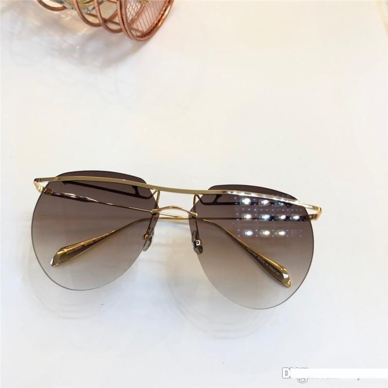 Lunettes de soleil nouveau mode de créateur de mode 155 ronde hommes de qualité sans cadre de simple style populaire lunettes en plein air avec boîte d'origine