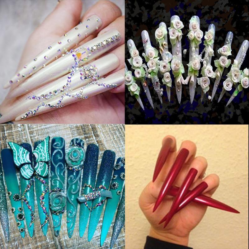 12 X Fingerqueen claires super longs et pointus Stiletto Conseils faux pour nail art UV 3D Gel acrylique