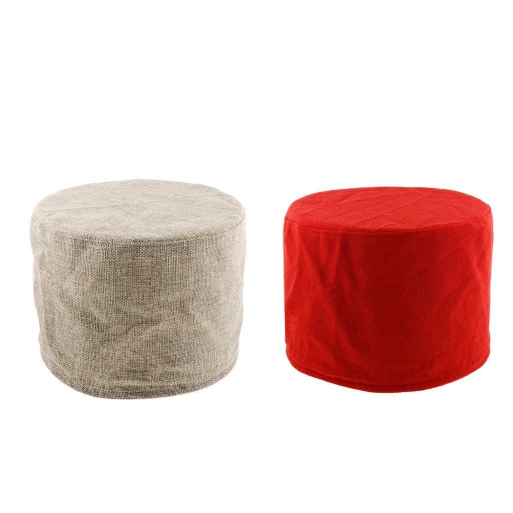 2ST Solid Color Ottoman Abdeckungs-Schutz-elastische Fußbank Stretch Husse Beige / Rot