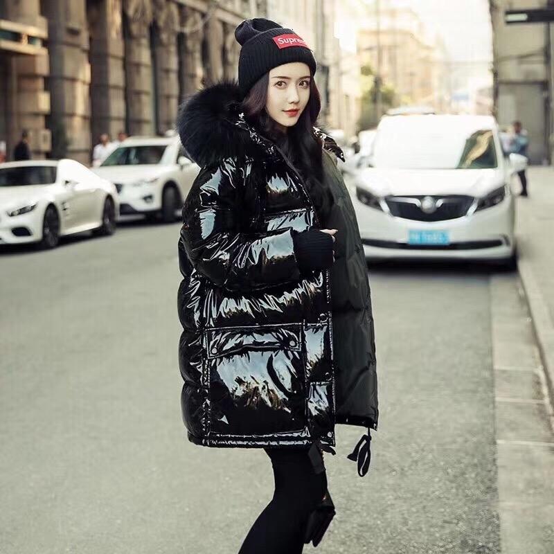 реальные пуховики женщин мехового воротника с капюшоном длинного пиджака Женщиной 2019 Winter Дамского вниз пальто плюс размер Сыпучих Глянцевыми пальто Outwear DT191030