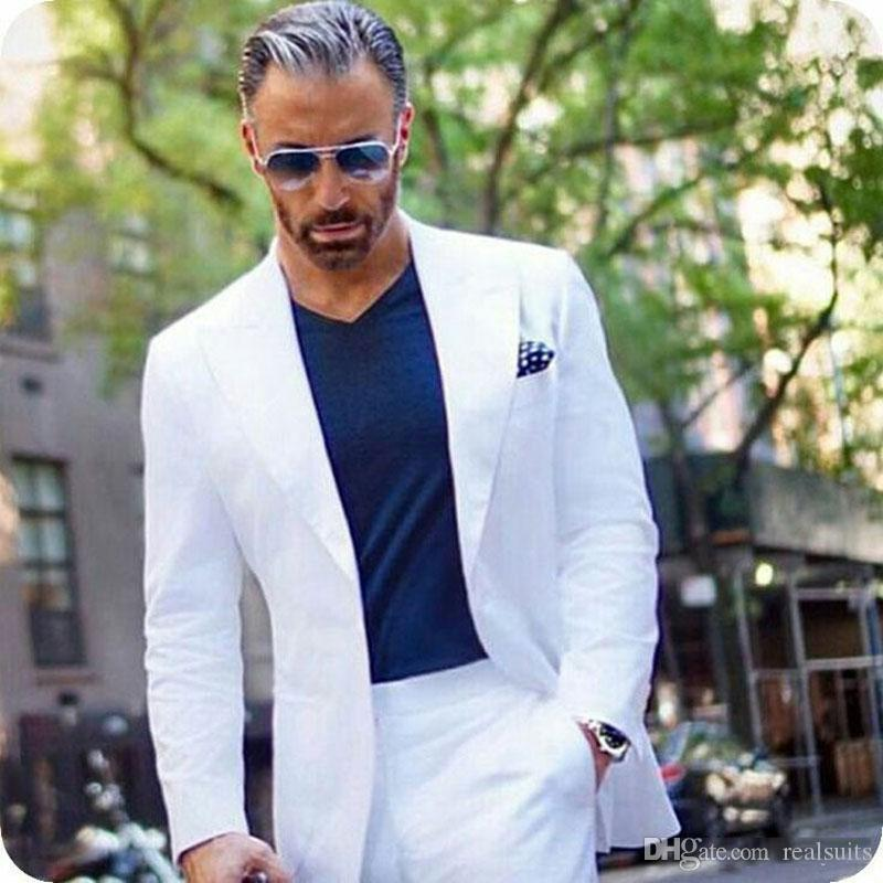Latest Coat Pants Designs White Mens Tuxedo Grooms Suits Business Man Blazers Jacket Wide Peaked Lapel Costume Homme 2Piece Terno Masculino