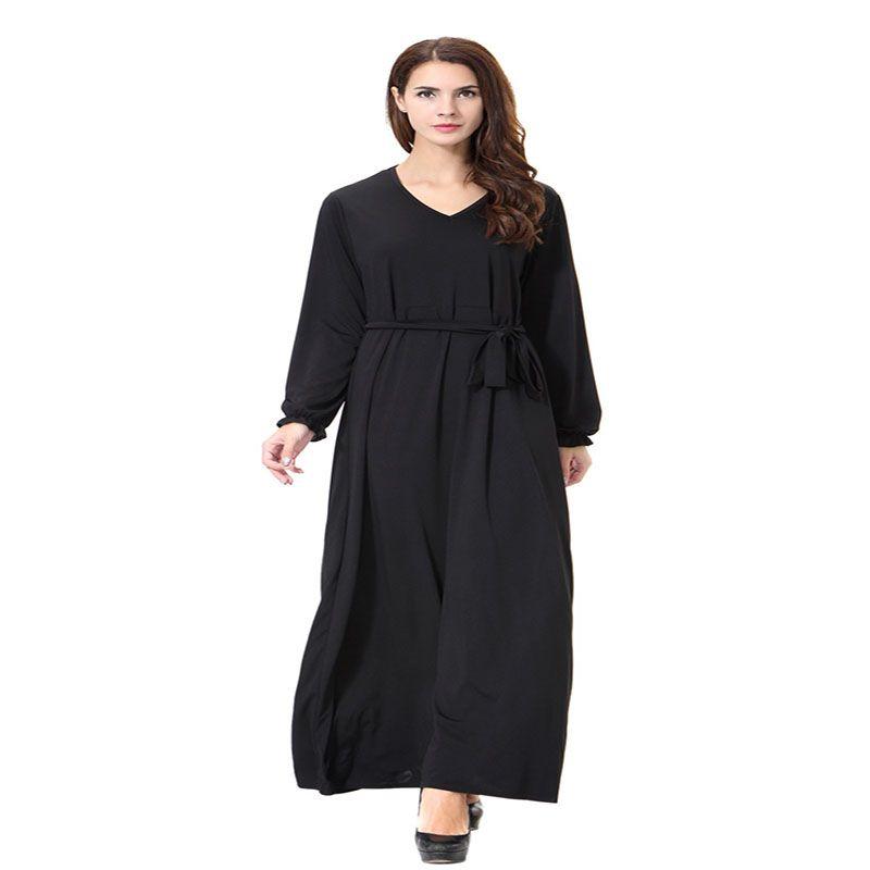 2018 vintage frauen schlank sommer casual dress lange abaya hülse weiches kleid für kaftan islamische muslimisch türkisch arabisch für frauen eid