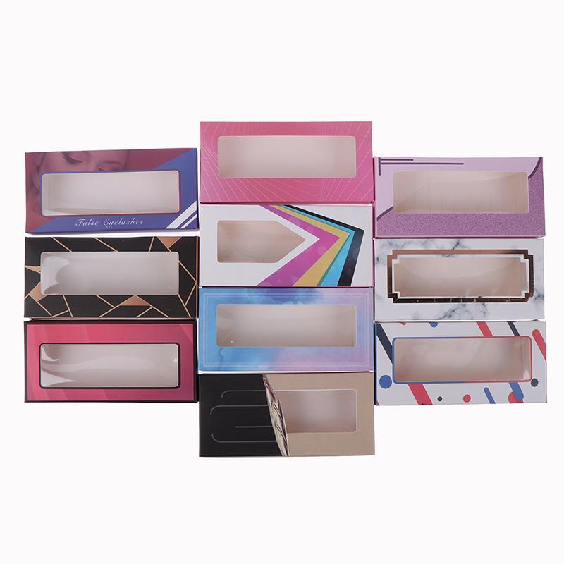 Holográfica pestañas caja 10pcs suave del papel de las pestañas de embalaje para pestañas falsas