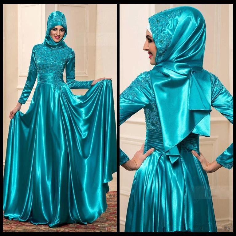 Vestidos de Festa À Noite Árabe Mangas Compridas Lace Applique Gola Alta Vestidos de Baile Com Zíper Voltar Um Vestido de Linha para a Noiva