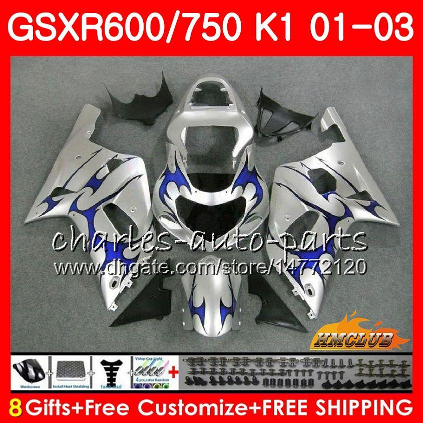 8ギフトボディfor Suzuki GSX-R750 GSXR 600 750 GSXR600 01 02 03 4HC.16 GSXR-600 K1 GSX R750ブルーフレームホットGSXR750 2001 2002 2003フェアリングキット