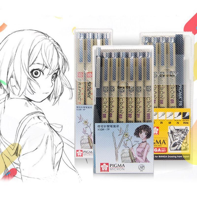 Marcatori Set Pigma Micron Penna Spazzola Morbida Disegno Pittura Penna Impermeabile 005 01 02 03 04 05 08 1.0 2.0 3.0 Pennarelli Artistici A Pennello