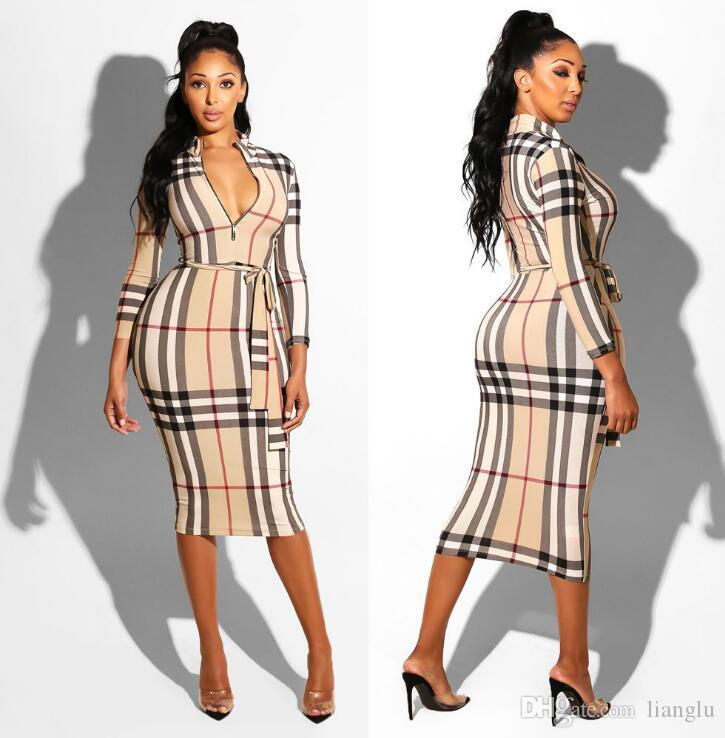 cross-border explosion models Europe and the United States foreign trade women's plaid long-sleeved dress nightclub dress belt belt