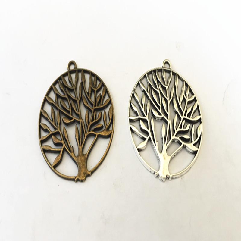 Mode Antique Bronze / Antique Silver Life Pendentif Arbre Pendentif Bracelet Bracelet Boucle d'oreille Charme 37mm 25 pièces / Lot