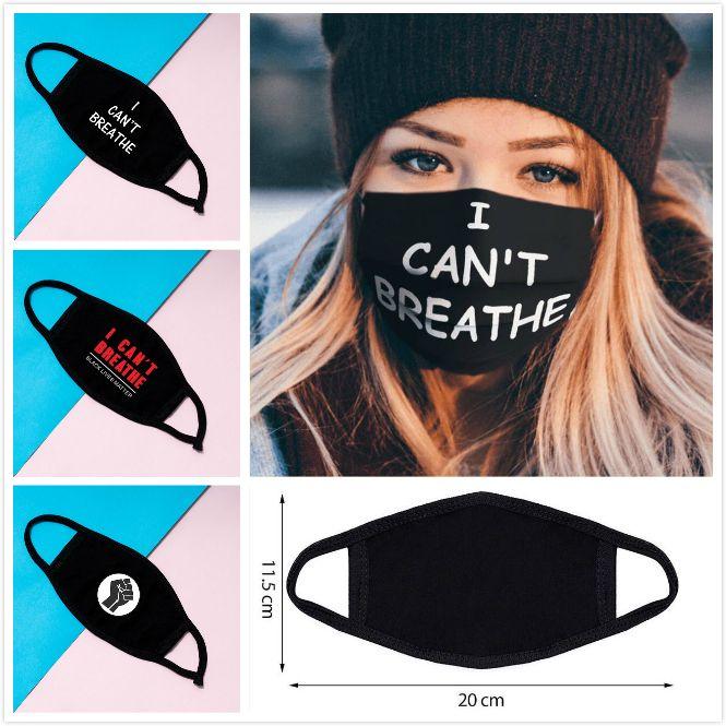 No puedo respirar máscara de la máscara Negro Vidas Materia tela de cara a prueba de polvo cubierta transpirable Cara máscara 9 estilos