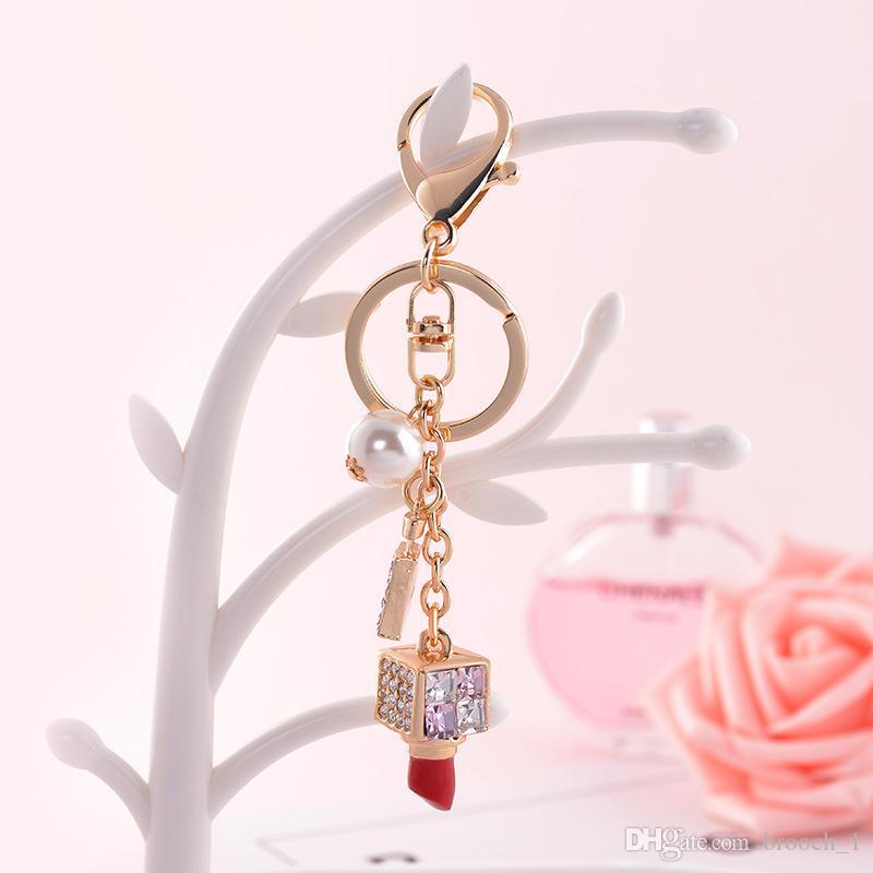 Korea Creative Fashion Jewelry Diamond Lipstick Car Keychain Hanging Female Bag Pendant Perfume Bottle keyrings Lover Gift