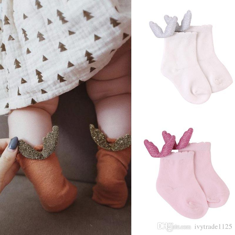 Lolita 4 colores Baby Kids Socks New Lands Girls With Angel Wing Sock Calcetines de algodón de los niños Tamaño 0-2T