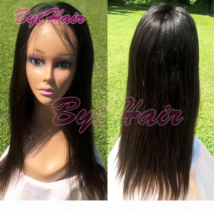 Bythair İpeksi Düz Tam Dantel İnsan Saç Remy Saç Dantel Ön Bebek Saç Doğal Satine ağartılmış Knots ile 130 Yoğunluk perukları
