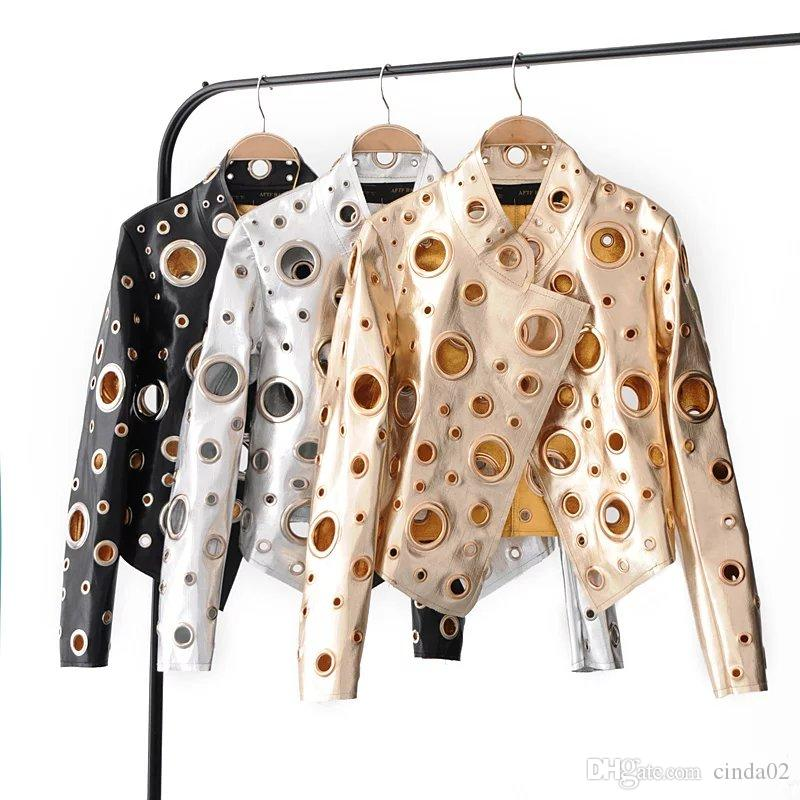 Новые женская дама мод полого металлических украшений Кожезаменитель мотоклуб куртка полупальто Черное Серебро Золото