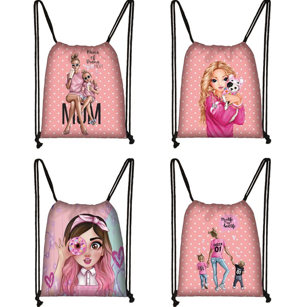 Pretty Girls / Patrón súper mamá bolsa con cordón de moda lona de las muchachas de tapa blanda Mochila Mujeres bolsa de viaje de almacenamiento Mujer
