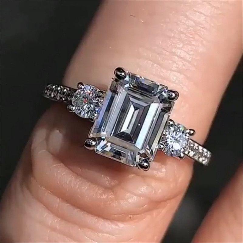 Esmeralda Corte 4ct Laboratório Diamante Anel 100% Original 925 Sterling Prata Noivado Anéis de Banda de Casamento para Mulheres Festa Jóias