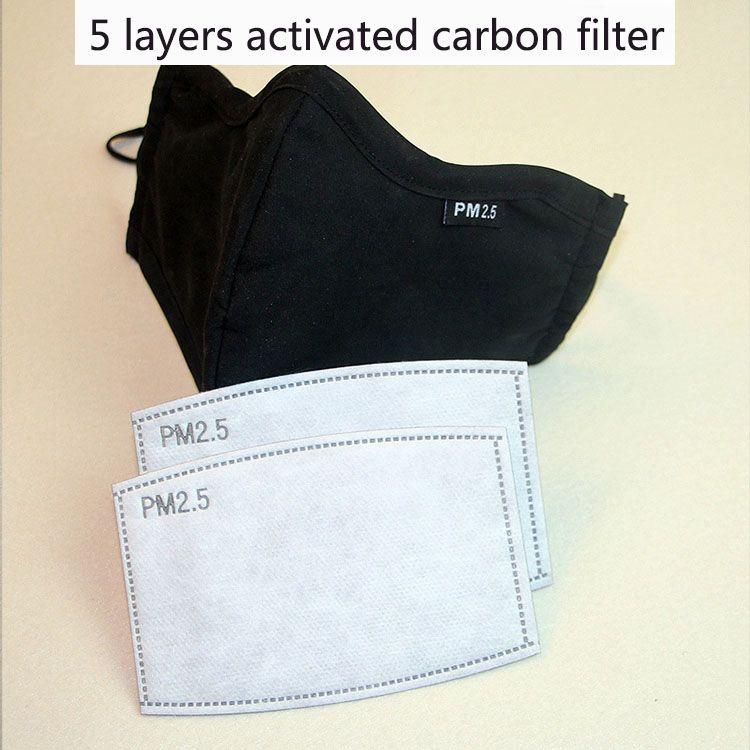 Aktifleştir Karbon 2 adet / çok 5 tabaka Aktif karbon filtre PM 2.5 önleyici Haze Ağız maskeler değiştirilebilir filtreler kullanımlar Maske