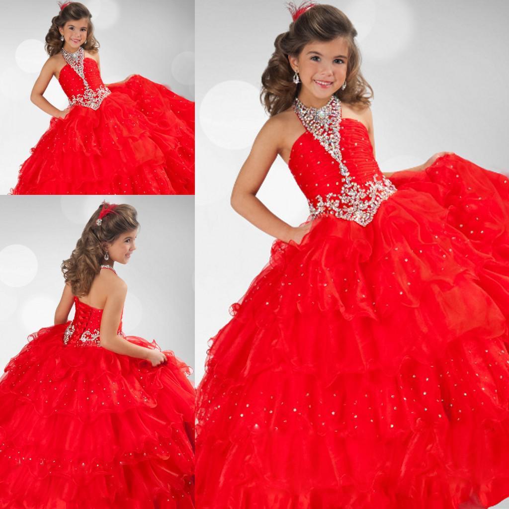 Frete grátis longo vestido de baile vermelho halter lace up closure até o chão vestidos da menina da flor pageant ZFD-023