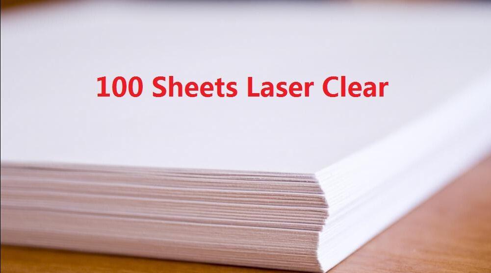 DHL Hızlı Teslimat 100 Levhalar A4 Lazer Yazıcı Su Kaydırağı Çıkartma Kağıt Yaprak Şeffaf Temizle