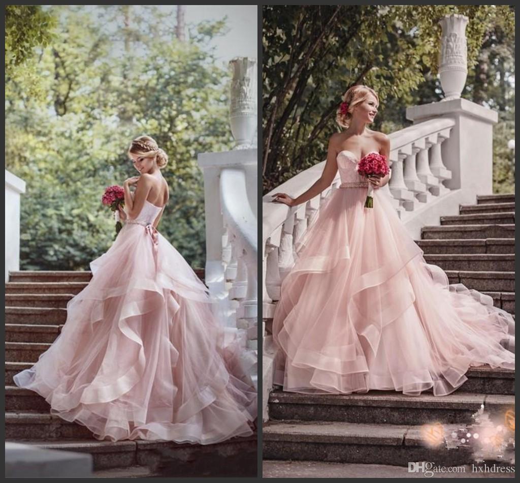 Богемские платья Люкс с скользящим шлейфом New Blush Pink Garden Свадебные платья с лентой Милая бисером оборками юбки принцессы 764