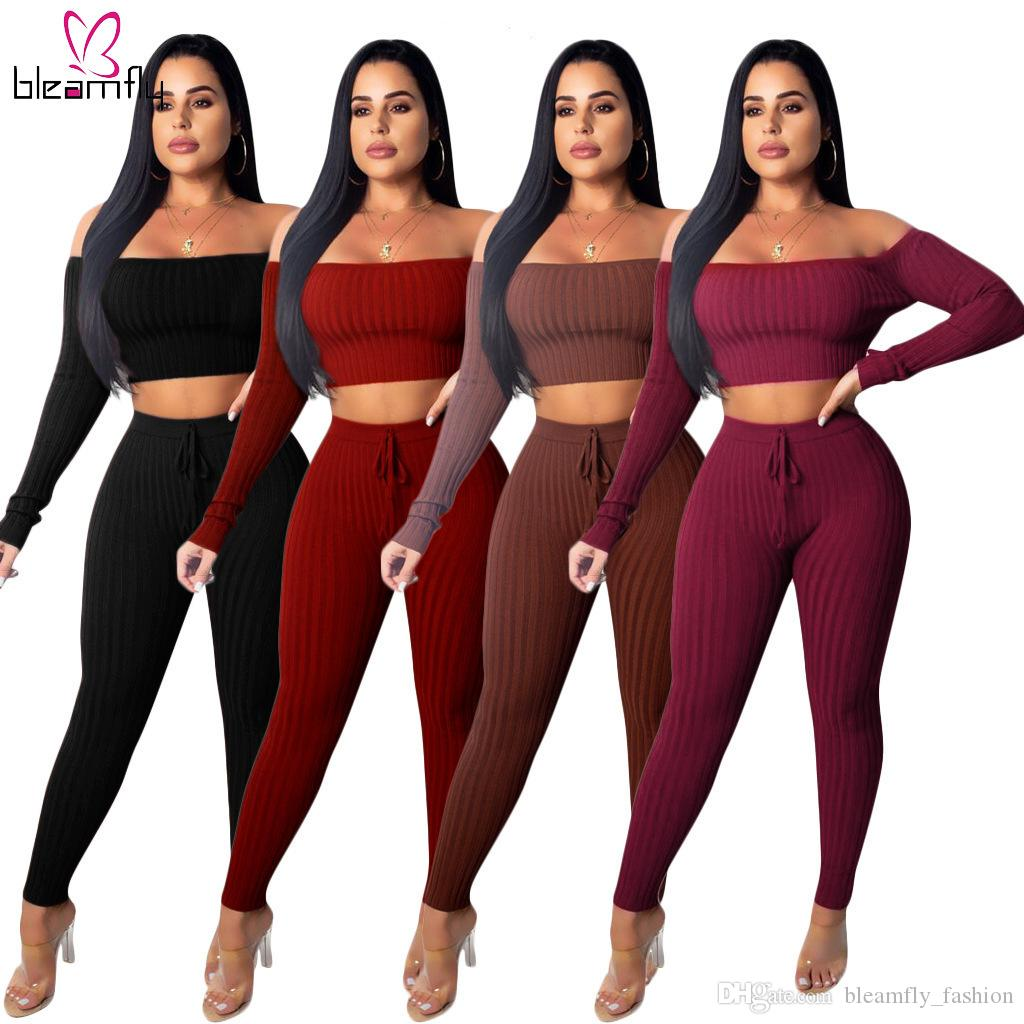 2020 Kış İlkbahar Kadınlar Örme Tracksuits Boyun Tops Slash ayarlar Ve Pantolon Suit İki Adet Set Kulübü Parti Gece Streetwear Kıyafet
