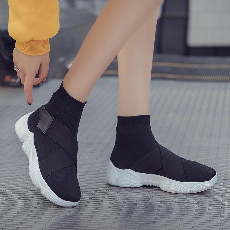 Mulheres esticar sapatos velhos novo aumento de Primavera e no Outono respirável net tendência selvagem vermelho fundo plano meias elásticas sapatos CS07 moda