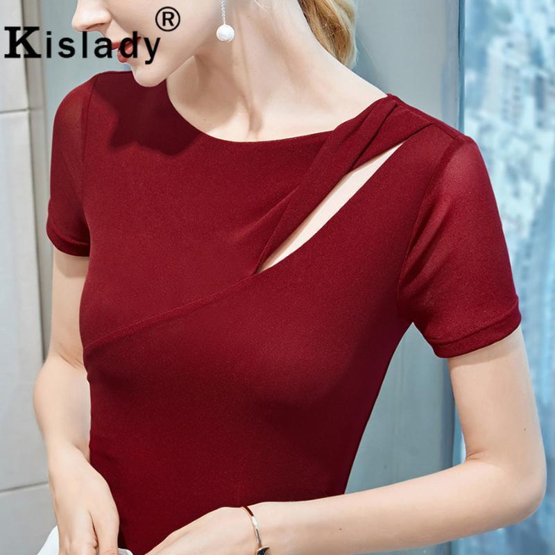 2020 O-Cuello remiendo Camisa gótica sólido de primavera y verano de las mujeres atractivas Tops Harajuku agujero camisa coreano delgado Ropa de moda