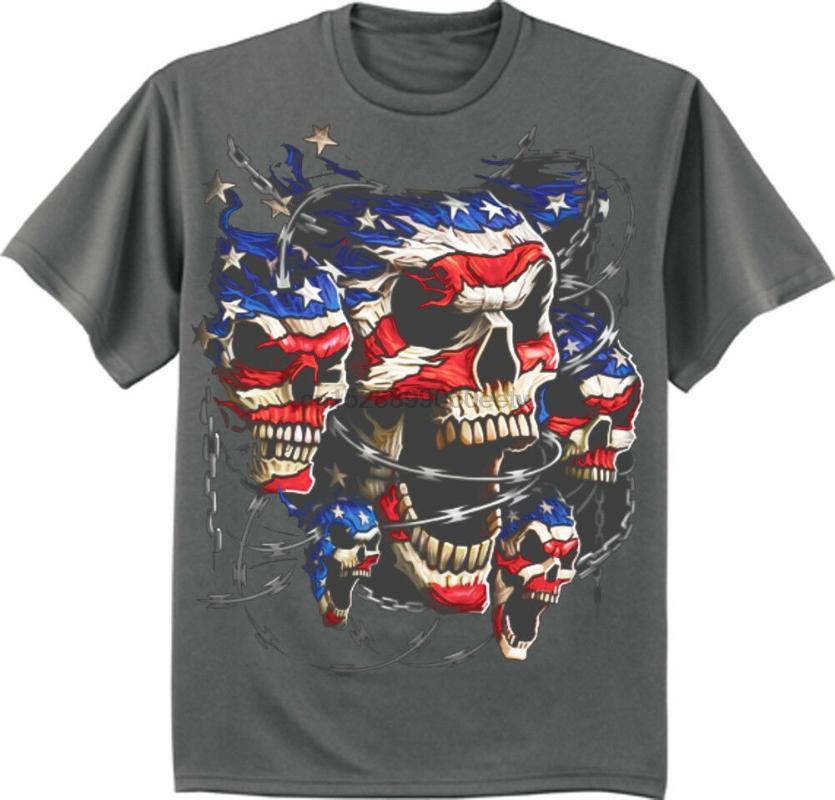 Большой и высокий футболка американский флаг США череп байкер бигмэн размера king тройник