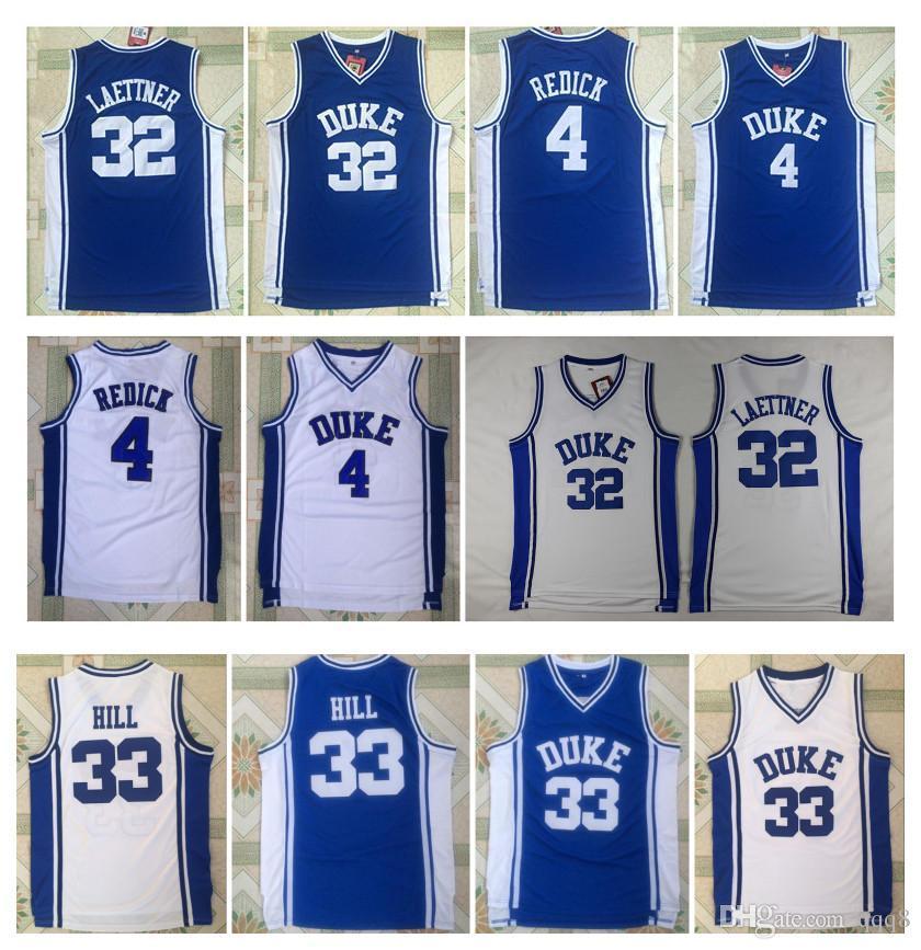 CAA Uomini Duke Blue Devils Jersey 33 Grant Hill 4 JJ Redick 32 Christian Laettner Blu Bianco Tutti cucita Economici College Basketball Maglie