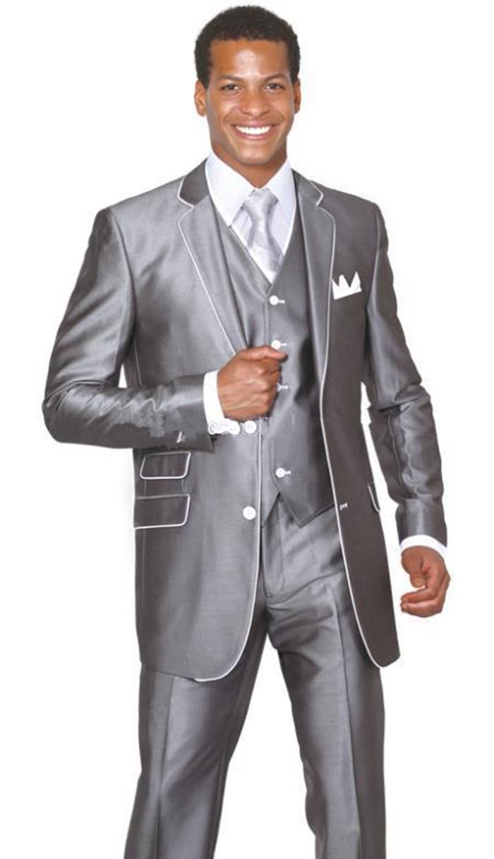 Neue Bräutigam Smoking Groomsmen Zwei Taste Notch Revers Beste Mann Anzug Hochzeit Blazer Anzüge Nach Maß (Jacke + Pants + Weste + Tie)