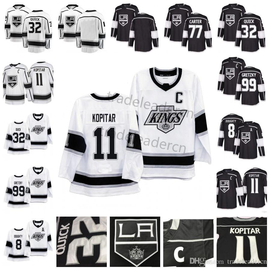 Mens LA 8 Drew Doughty 11 Anze Kopitar 32 Jonathan Quick Wayne Gretzky 77 Jeff Carter Preto Branco Casa Fora Los Angeles Kings Hockey Jerseys