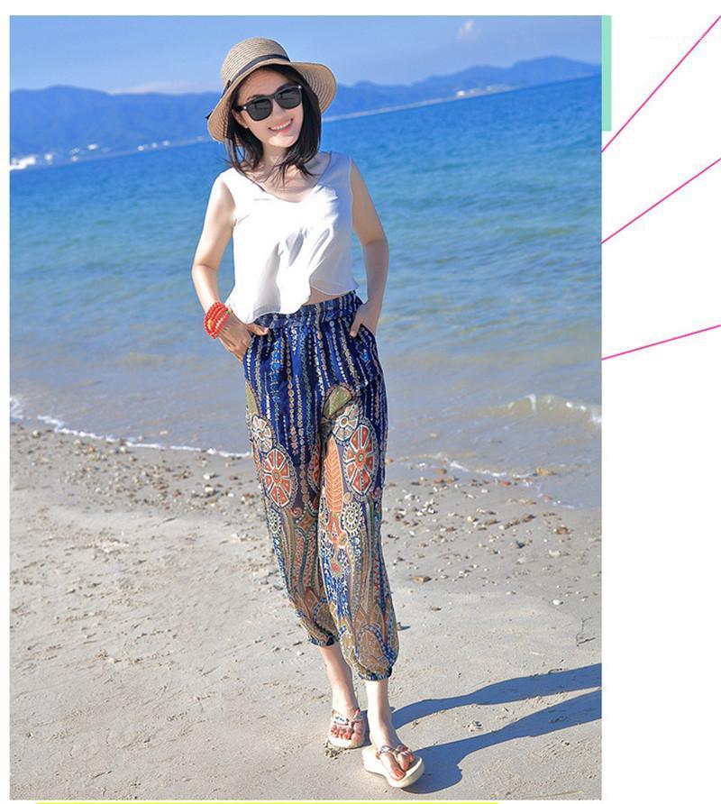 Pantalones de pierna ancha de manera femenino sueltan los pantalones de cintura alta vacaciones en la playa Capris ocasional de la gasa de la ropa de verano Digital Impreso