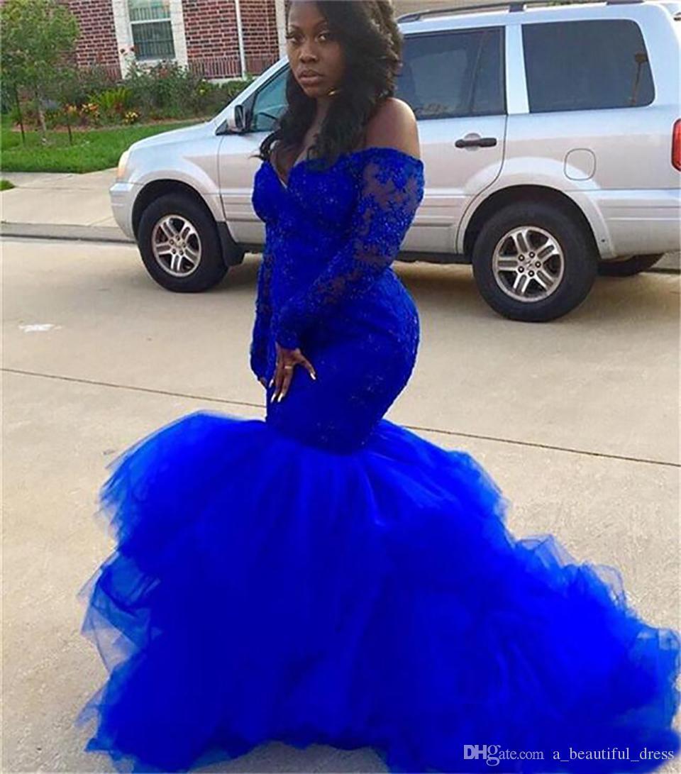 Plus Taille Royal Blue Mermaid Pal Robes à manches longues Fille noire Dentelle Tutu robes de soirée Robes de soirée africaine Lady Formelle Robes de soirée SD3380