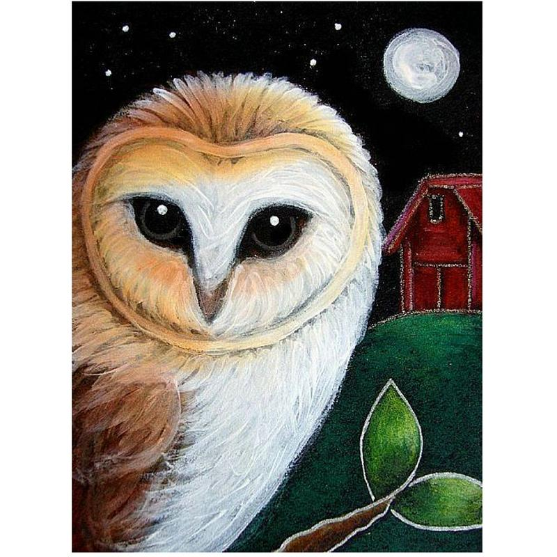 Round Face Owl 5D Diamond Round Rhinestone Embroidery Painting DIY Cross Stitch Kit Mosaic Draw Home Decor Art Craft Gift