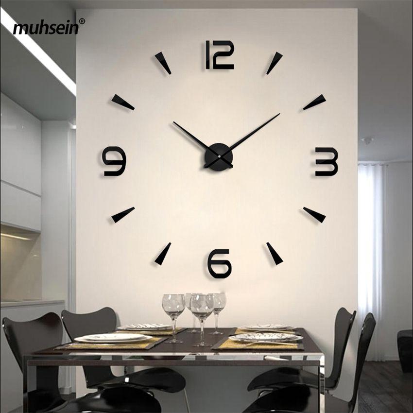 Partiu 2019 decoração New Relógio de parede Metal Acrílico Espelho Big personalizado parede Relógios 3D grande parede Clocks gratuito Y200110 transporte