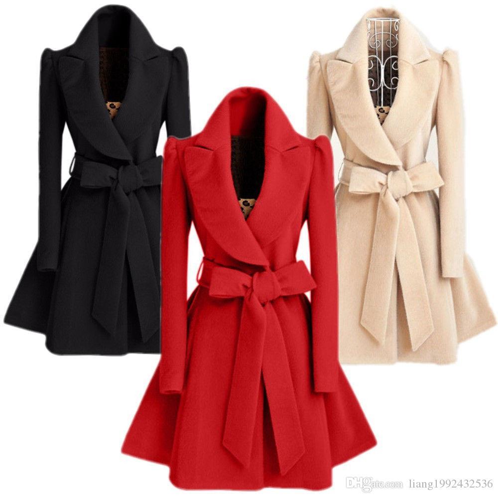 All'ingrosso caldi lungo Giacca in lana Trench Coat Outwear militare soprabito Parka di modo delle donne