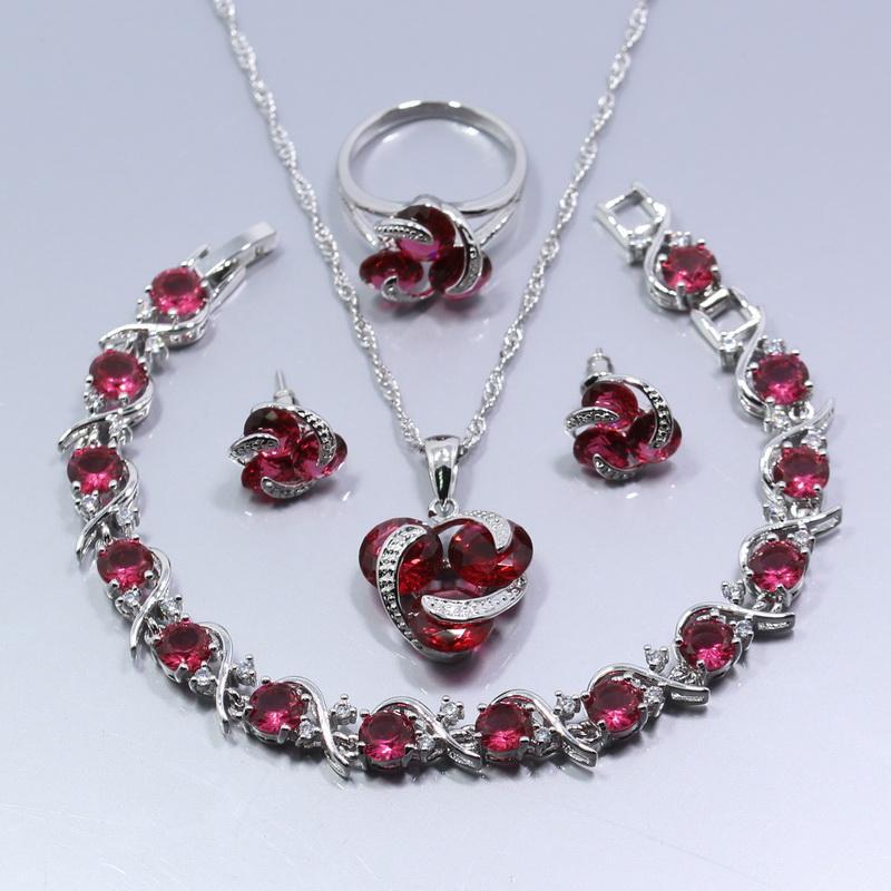 925 серебро четыре части комплект ювелирных изделий свадьба для новобрачных Роза красный кристалл кольцо размер 6/7/8/9/10 браслет 18 см бесплатный подарок Z29