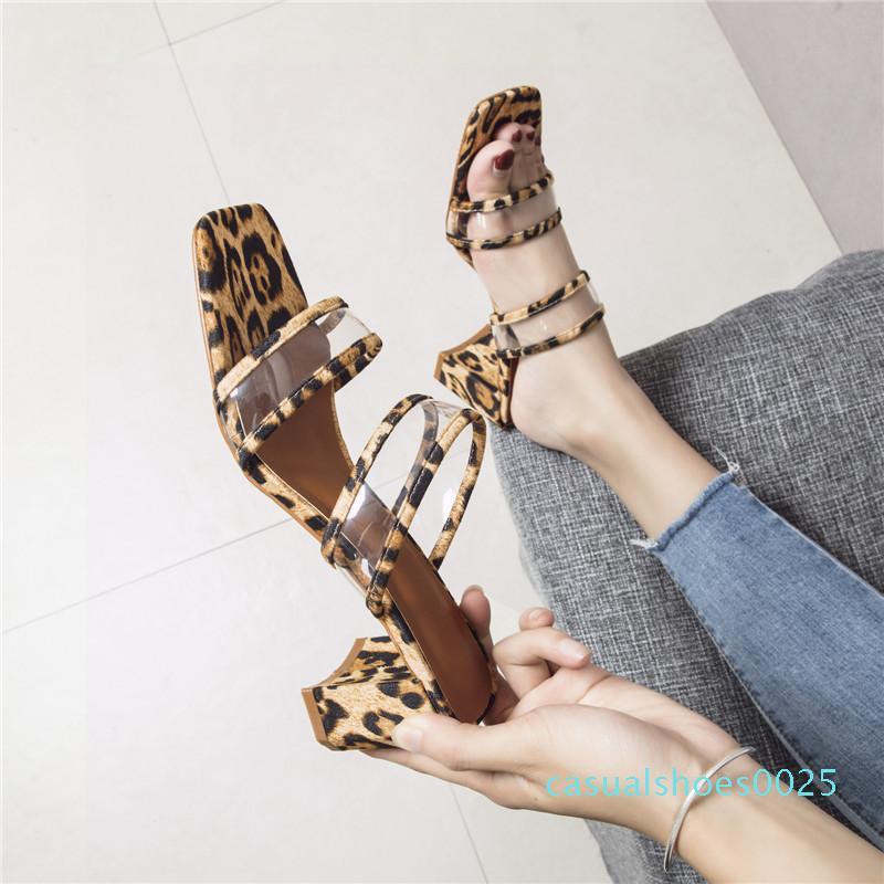 Leopar baskı sandalet PVC yaz seksi Slip-on Burnu açık Parti kadın Ayakkabı yüksek topuklu Burnu açık açık slaytlar topuklu terlik c25