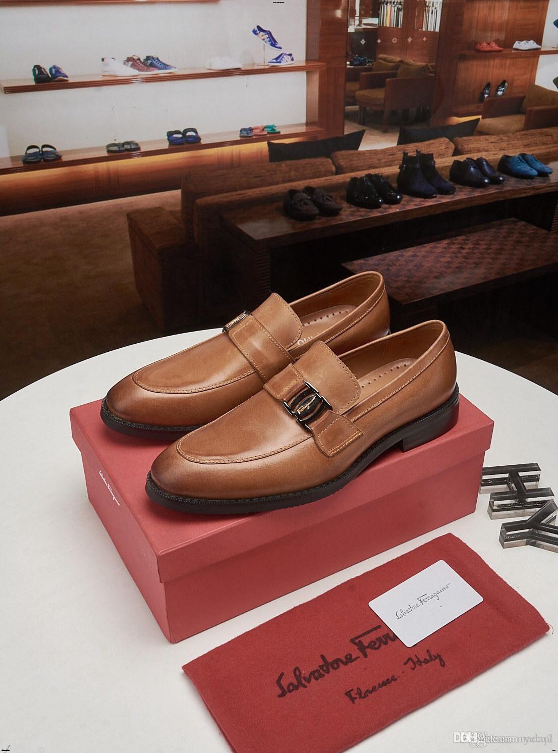 19FW 2019 Мужской обувь кожаных платьев Броги Большого размер Британского Стиль Oxfords Свадьбы Luxury Brands Бизнес Формальной обувь YECQ3