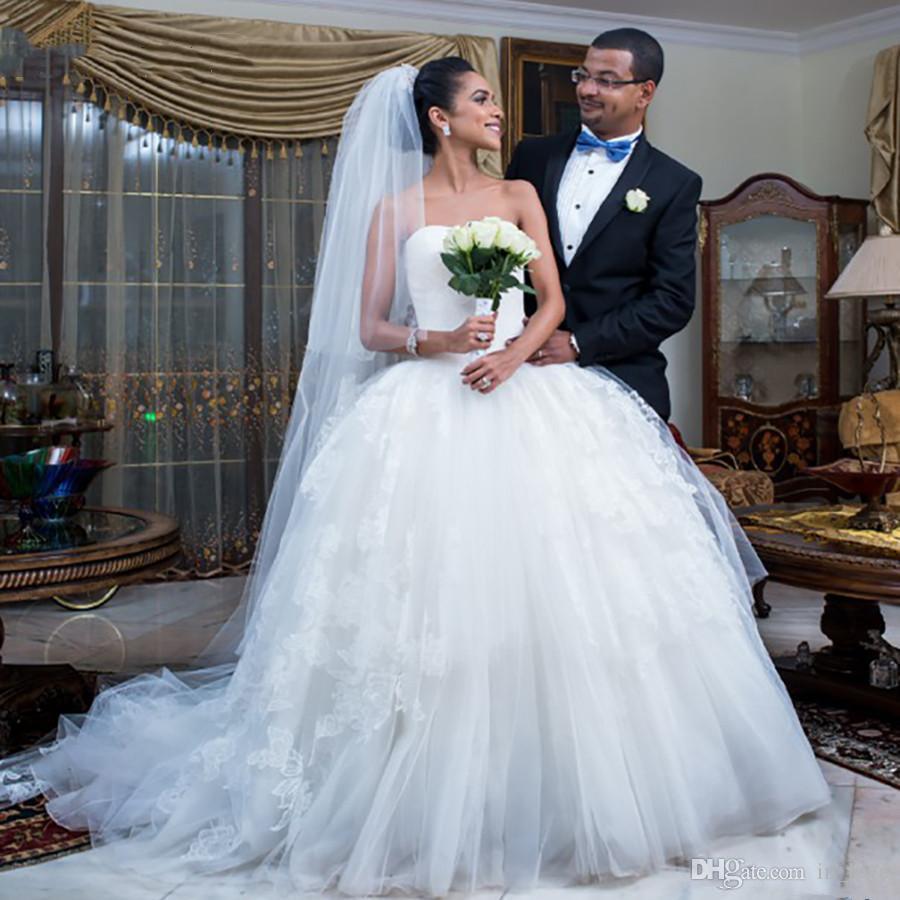 Sin tirantes hueco bola vestido de novia de encaje clásico princesa Volver Vasco cintura Mujeres Tutu vestidos de novia más el tamaño de Personalizar