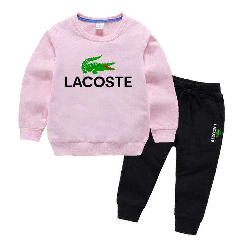 Timsah Logosu çocuk tasarımcı Hoodies Setleri kızlar 2-7 T Çocuklar Hoodies Pantolon 2 Adet / takım Bebek Eşofman Oğlan Kız Pamuk Setleri Sonbahar Setleri
