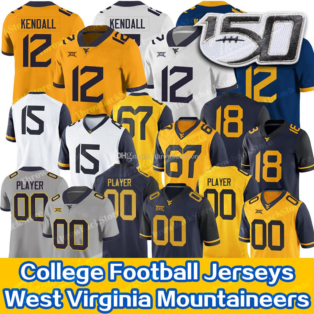 Custom West Virginia Austin Kendall Mountaineers Jersey Sam James Leddie Brown T.J. Simmons George Campbell WVU Football Jersey