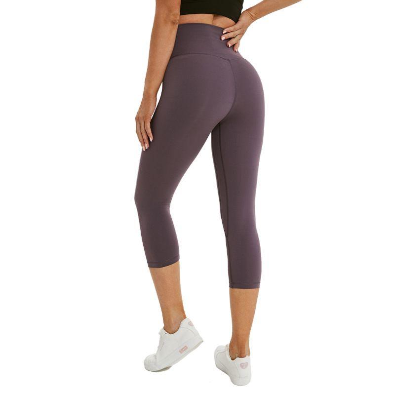 L-24 نساء بنات اليوغا سروال اللباس تشغيل للياقة البدنية الجوارب الصلبة اللون سيدة عالية الخصر الرياضة السراويل بنطلون اقتصاص