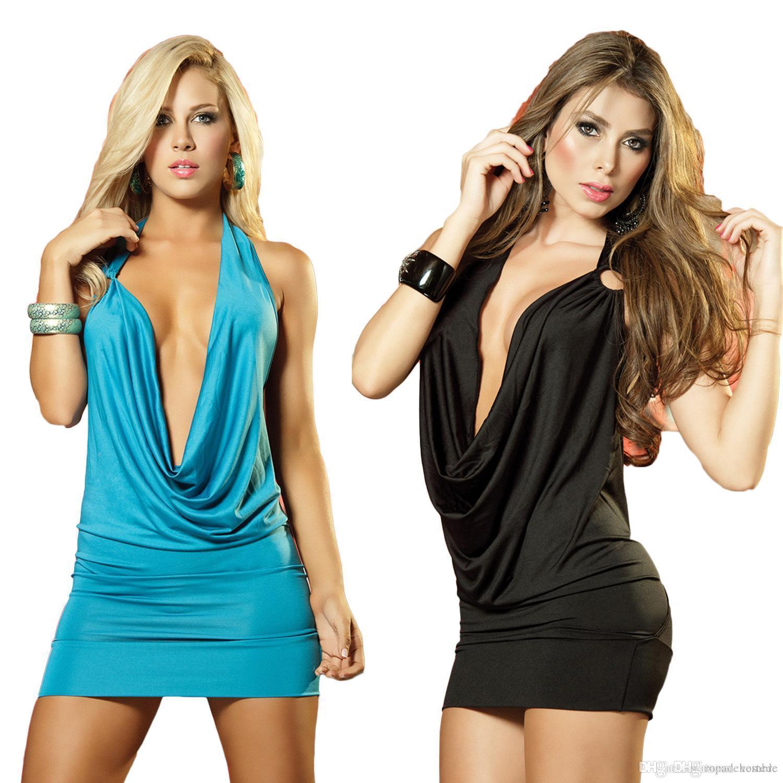 여성 섹시한 클럽 홀터넥 드레스 판매 색상 등이없는 미니 깊은 V 넥 댄스 드레스 저녁 드레싱